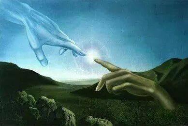 Hand finger God adam spark divine