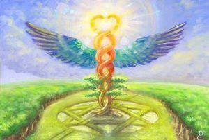Caduceus Hermes staff spiral
