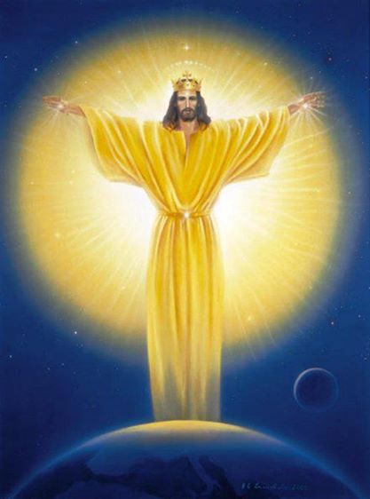 Jesus Sananda crown sun earth wings