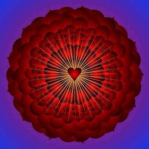 red heart radiate love