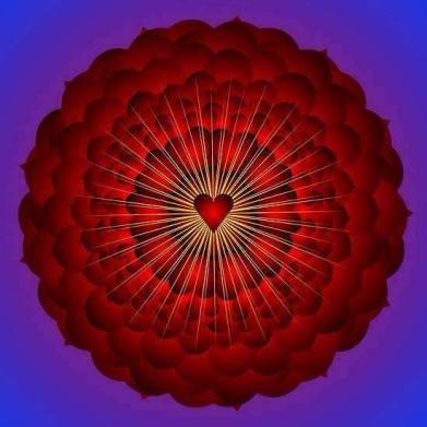 red heart radiate love