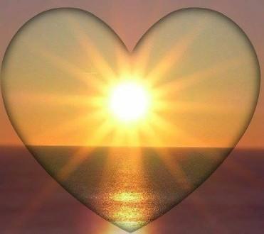 Love heart sun ocean